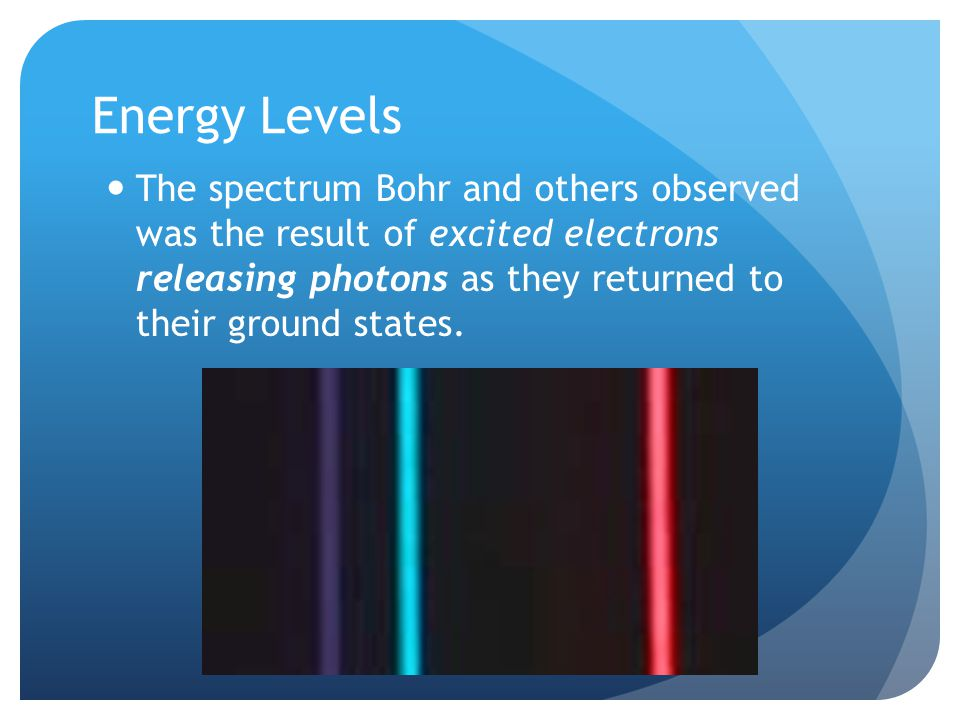 Energy Levels The spectrum Bohr and others observed was the result of excited electrons releasing photons as they returned to their ground states.