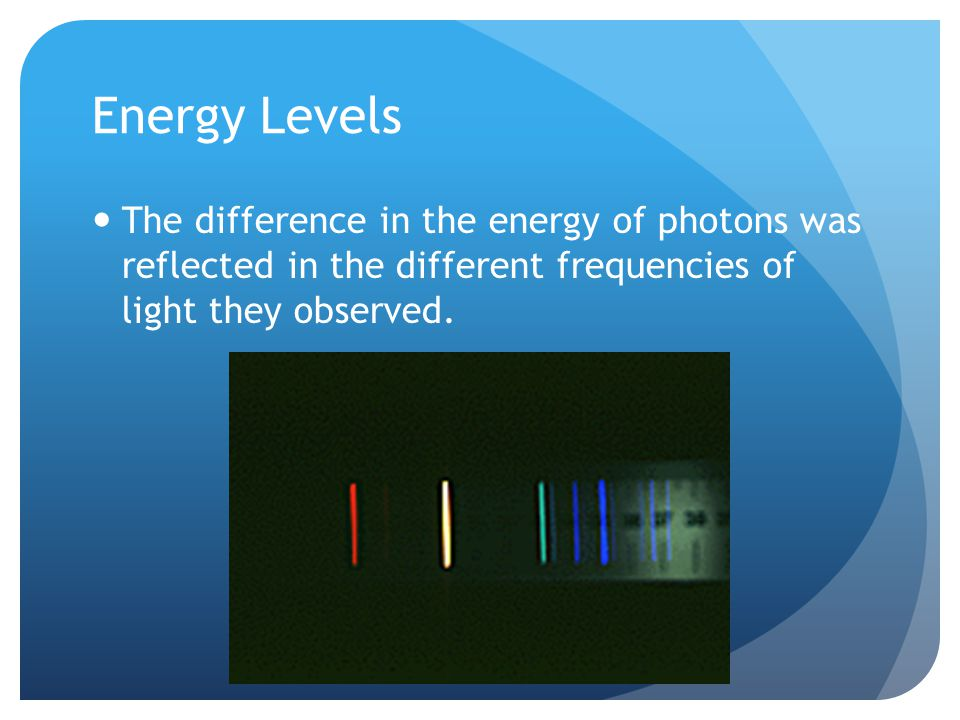 Energy Levels The difference in the energy of photons was reflected in the different frequencies of light they observed.