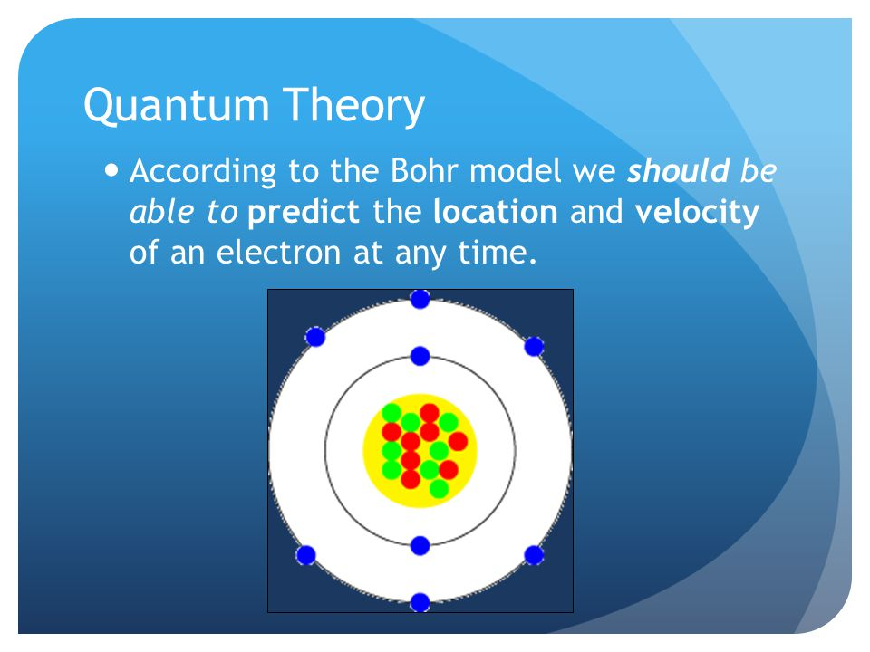 Quantum Theory According to the Bohr model we should be able to predict the location and velocity of an electron at any time.