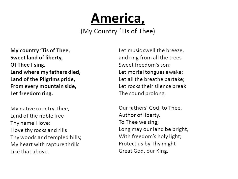 Lyric my country tis of thee lyrics : Edge Institute Songs and Chants June ppt download