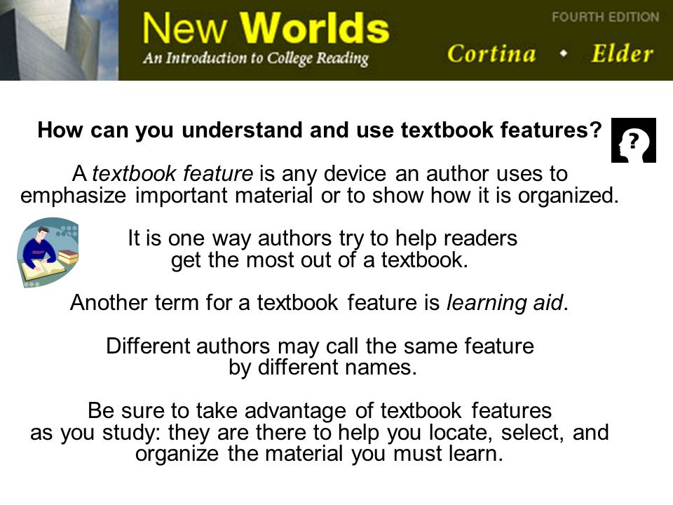 How can you understand and use textbook features