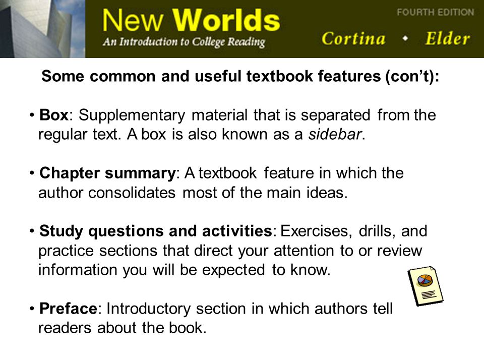 Some common and useful textbook features (con't):