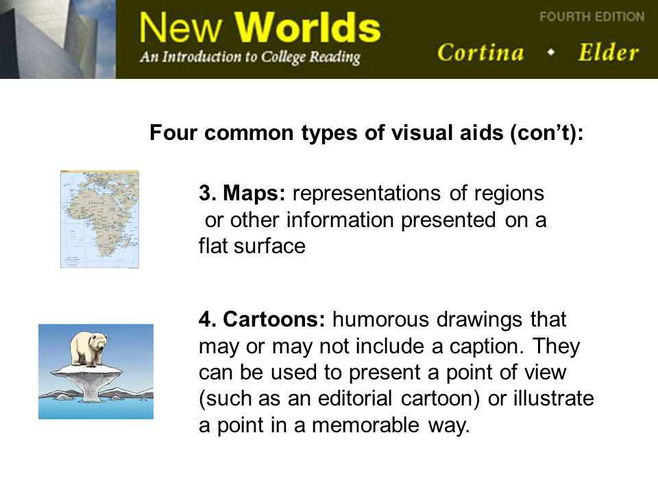 Four common types of visual aids (con't):