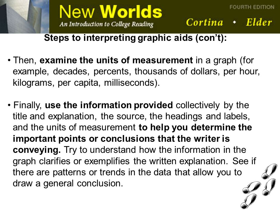 Steps to interpreting graphic aids (con't):