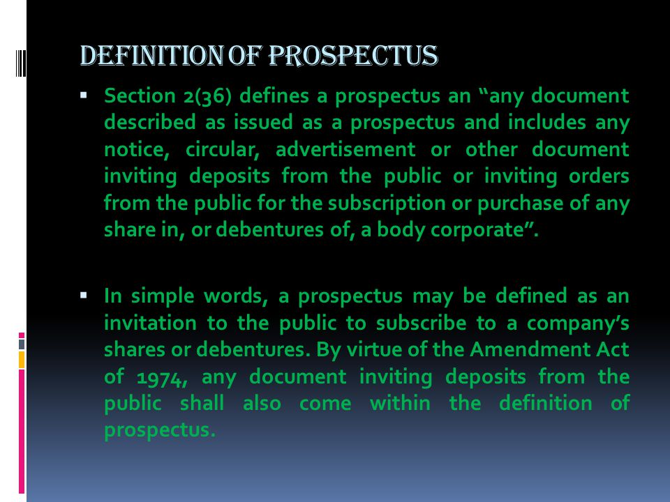Prospectus and commencement of business ppt video online download definition of prospectus stopboris Image collections