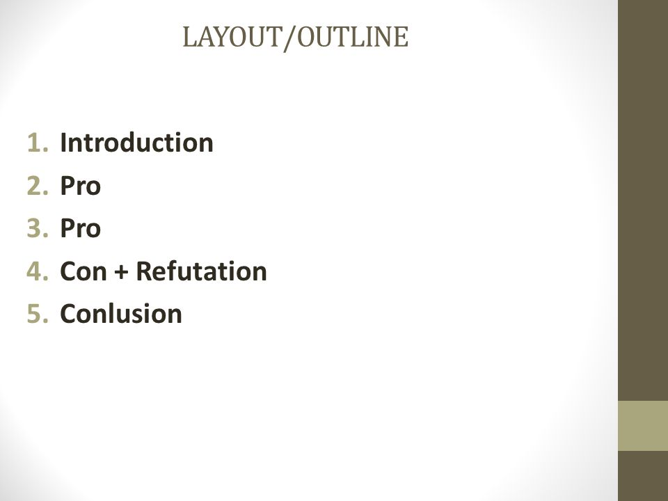 LAYOUT/OUTLINE Introduction Pro Con + Refutation Conlusion