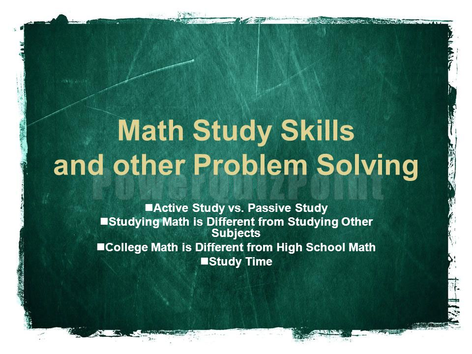 Math Study Skills and other Problem Solving - ppt download