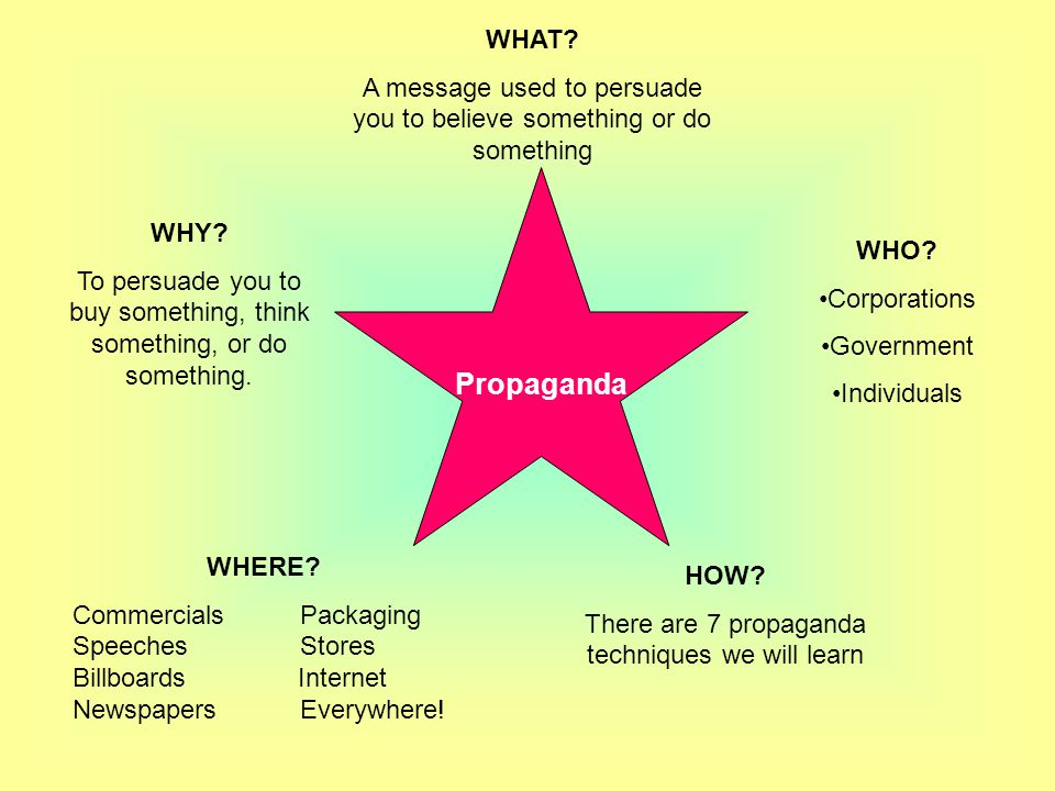 WHAT A message used to persuade you to believe something or do something. Propaganda. WHY