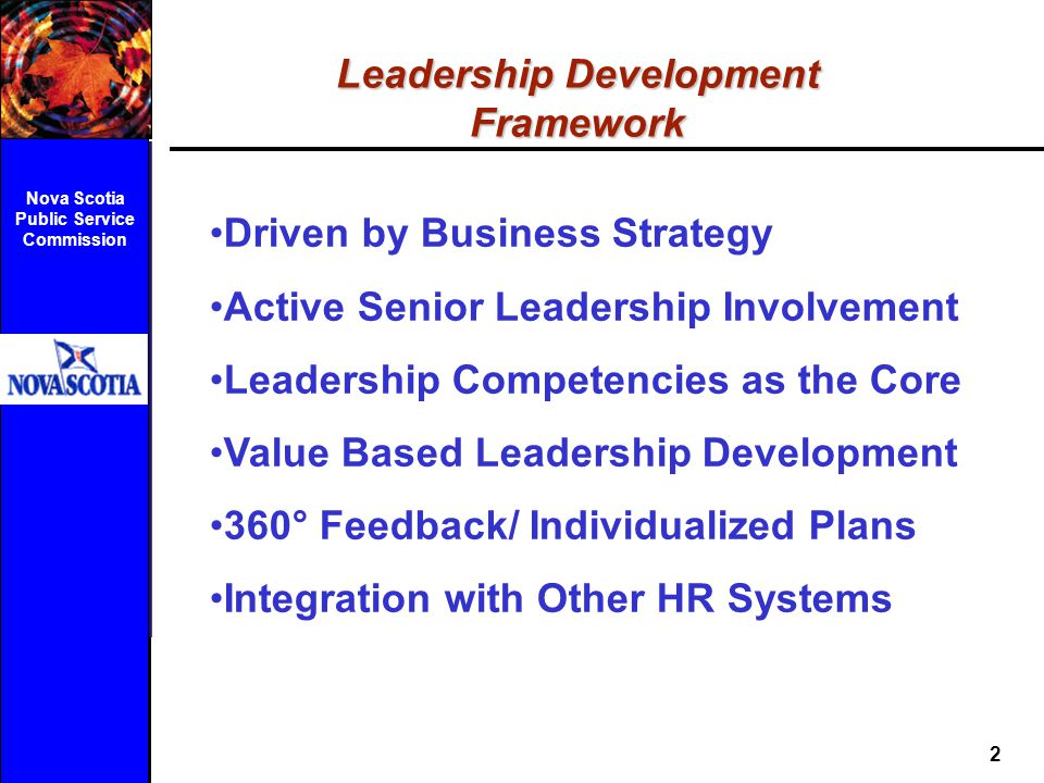 Leadership Development Framework Nova Scotia Public Service Commission