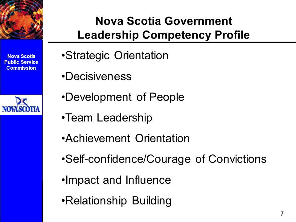 Nova Scotia Government Leadership Competency Profile