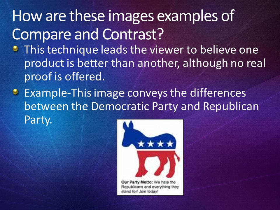 How are these images examples of Compare and Contrast