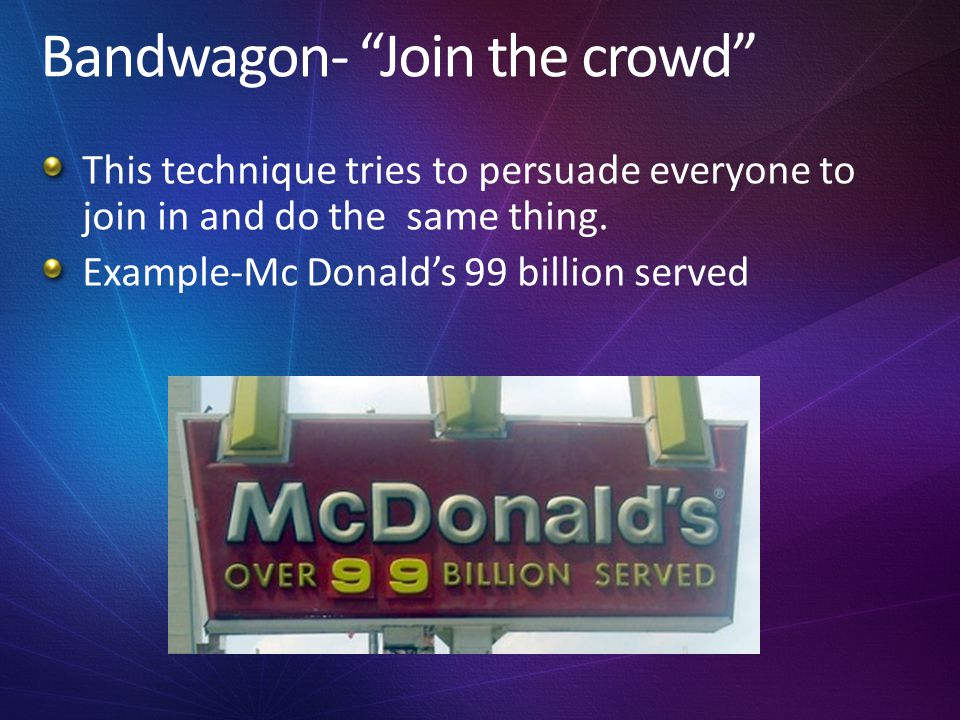 Bandwagon- Join the crowd