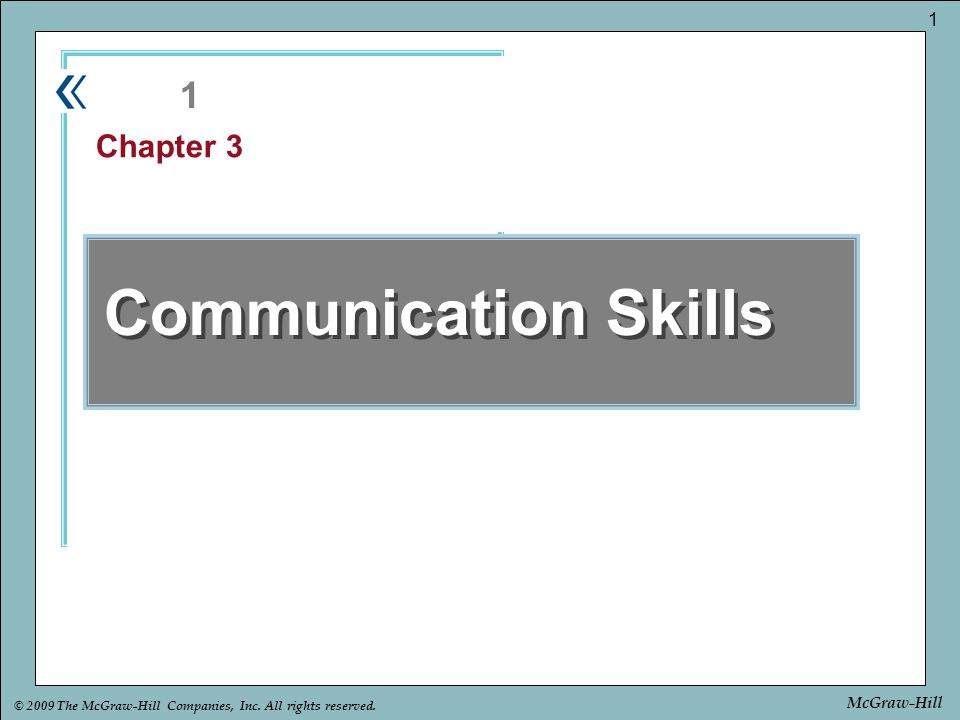 1 Chapter 3 Communication Skills