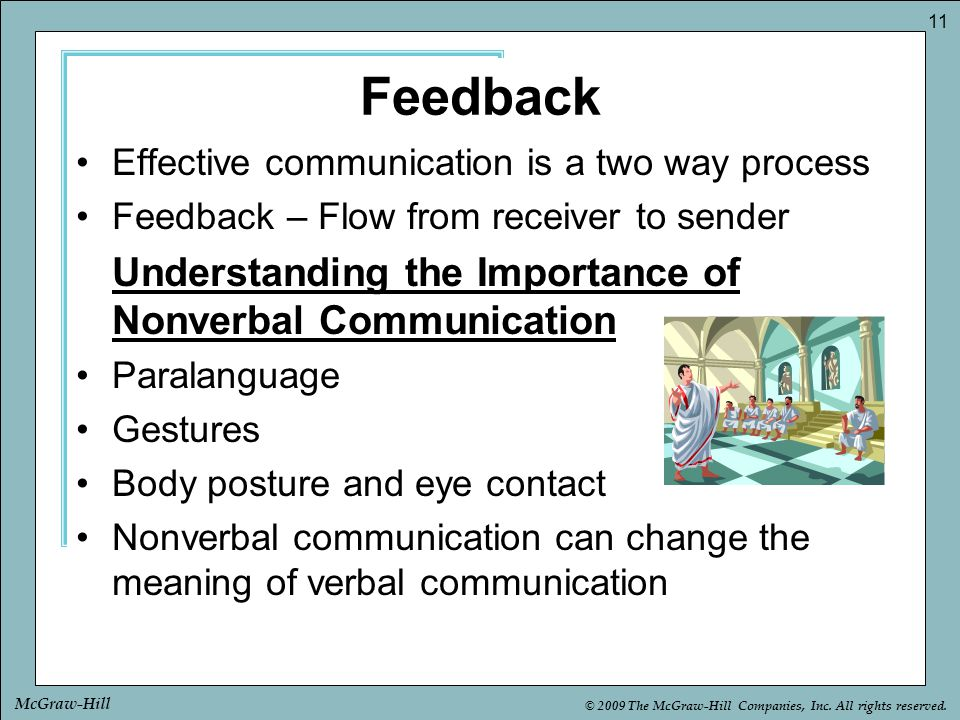 Feedback Effective communication is a two way process