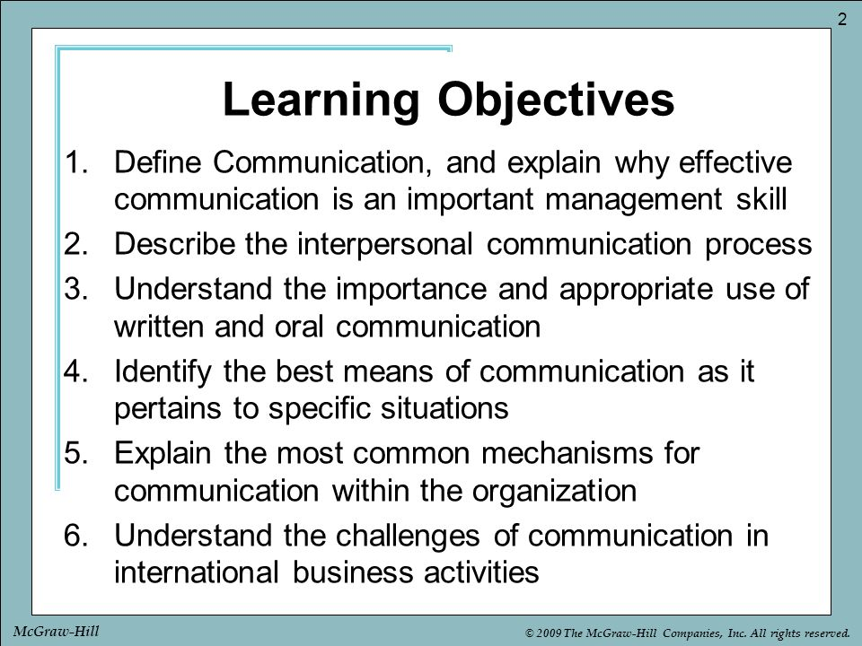 Learning Objectives Define Communication, and explain why effective communication is an important management skill.