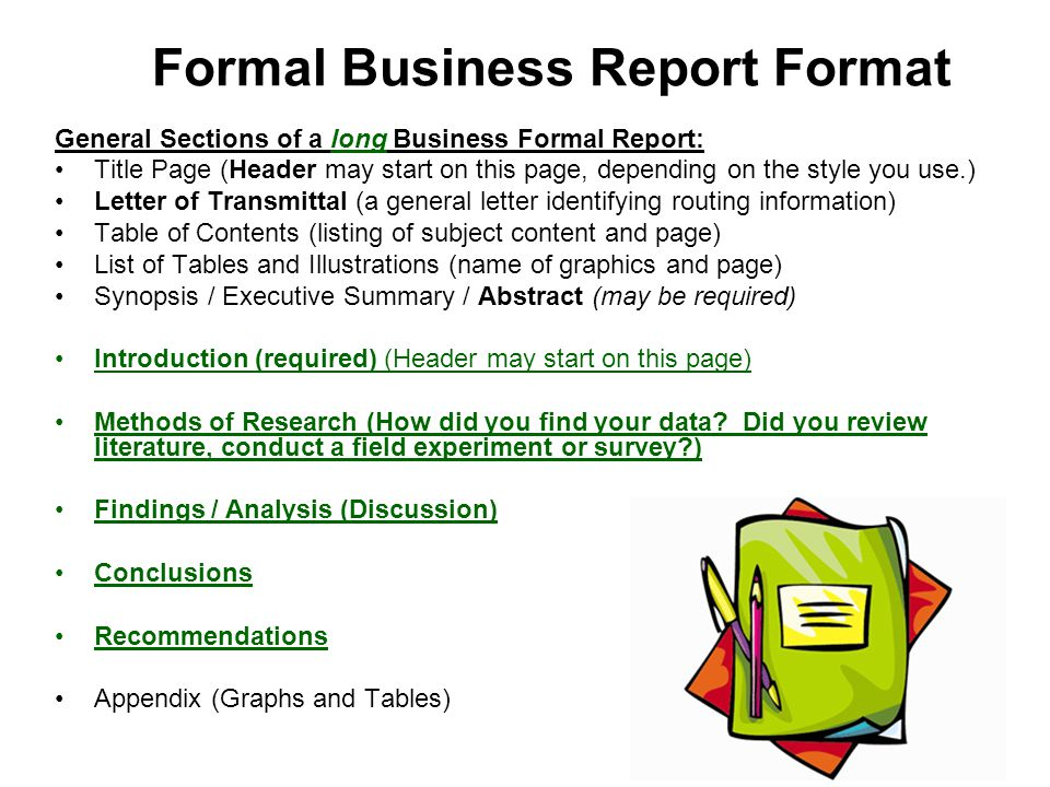 how to start a formal report