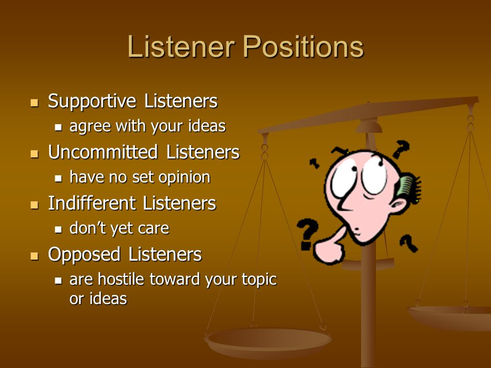 Listener Positions Supportive Listeners Uncommitted Listeners