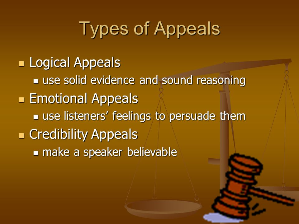 Types of Appeals Logical Appeals Emotional Appeals Credibility Appeals