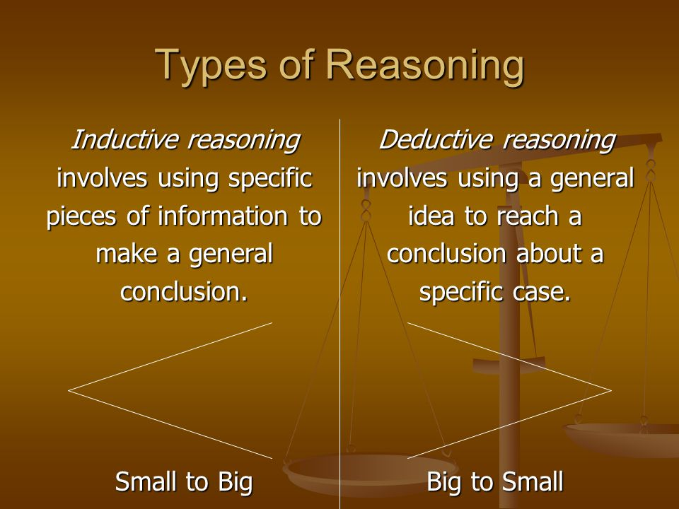 Types of Reasoning Inductive reasoning involves using specific