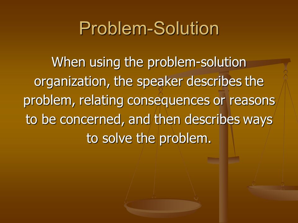 Problem-Solution When using the problem-solution