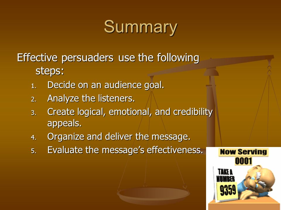 Summary Effective persuaders use the following steps: