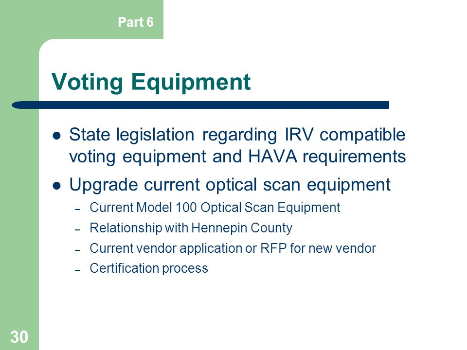 Part 6 Voting Equipment. State legislation regarding IRV compatible voting equipment and HAVA requirements.