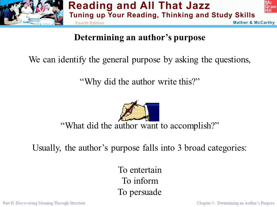 Determining an author's purpose