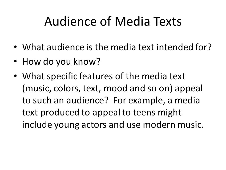 Audience of Media Texts