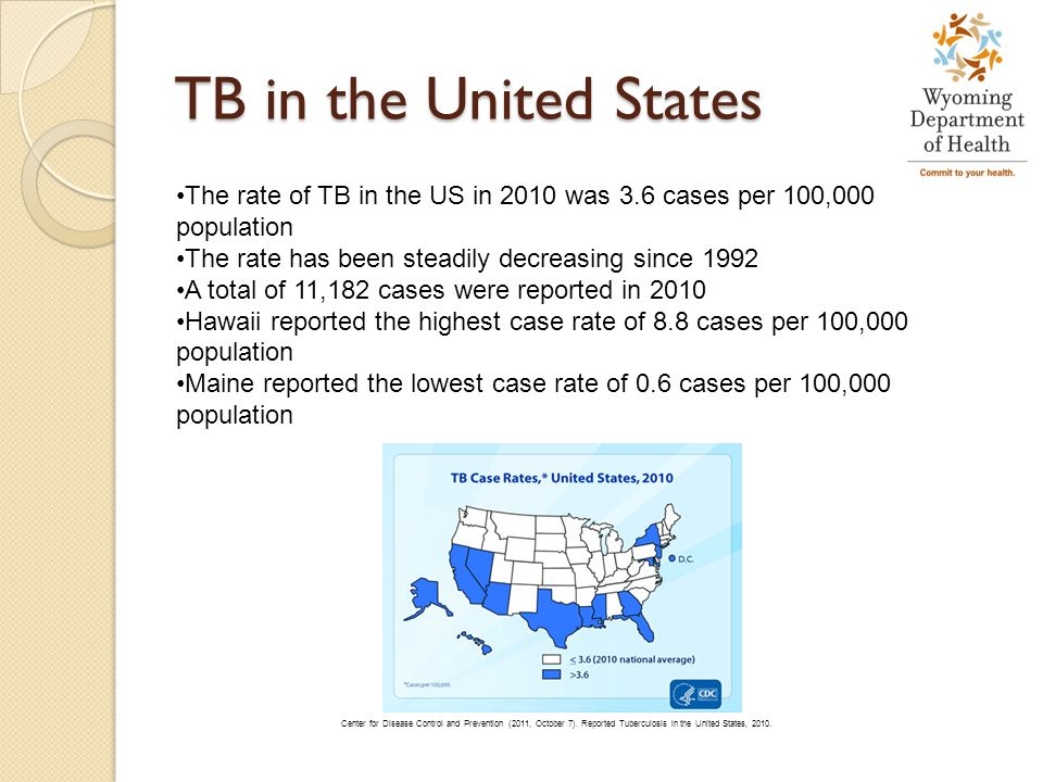 TB in the United States The rate of TB in the US in 2010 was 3.6 cases per 100,000 population. The rate has been steadily decreasing since