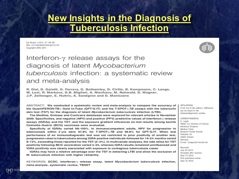 New Insights in the Diagnosis of Tuberculosis Infection