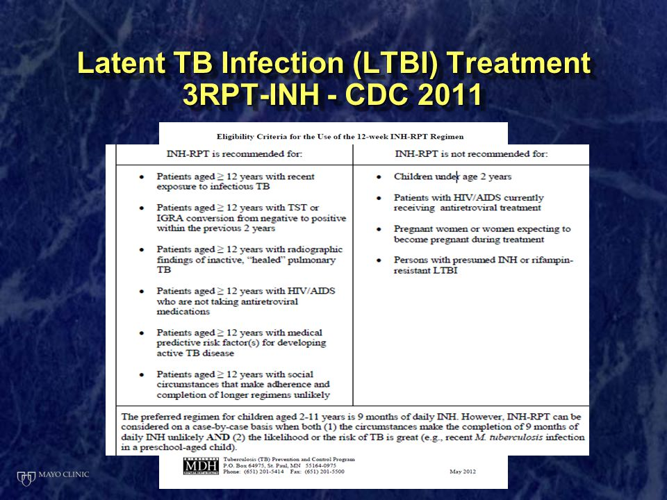 Latent TB Infection (LTBI) Treatment 3RPT-INH - CDC 2011