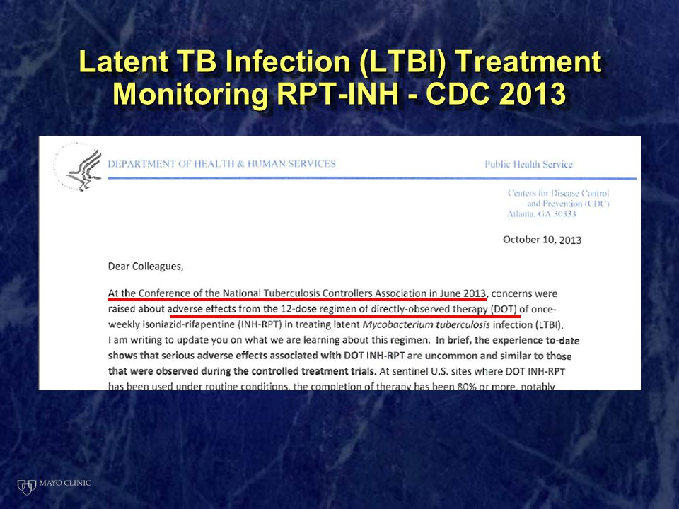 Latent TB Infection (LTBI) Treatment Monitoring RPT-INH - CDC 2013