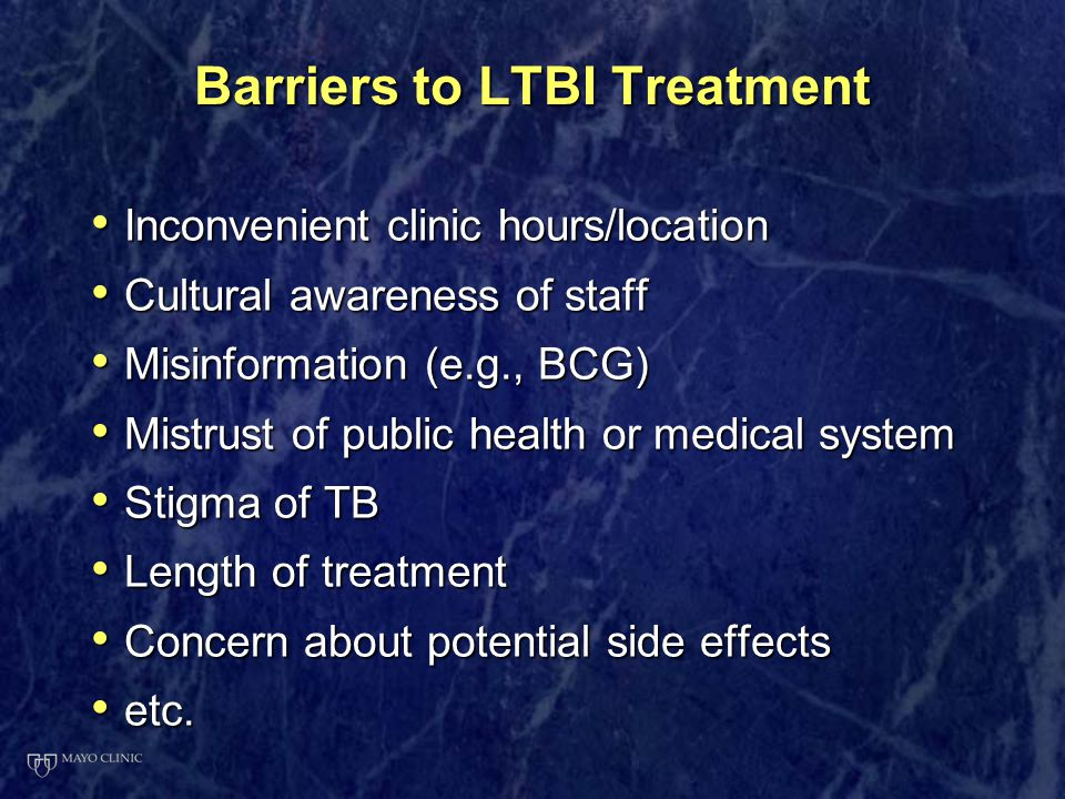 Barriers to LTBI Treatment