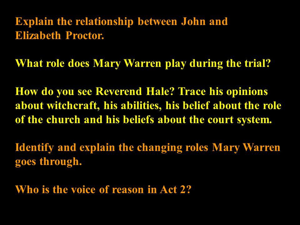 describe the relationship between john and elizabeth proctor