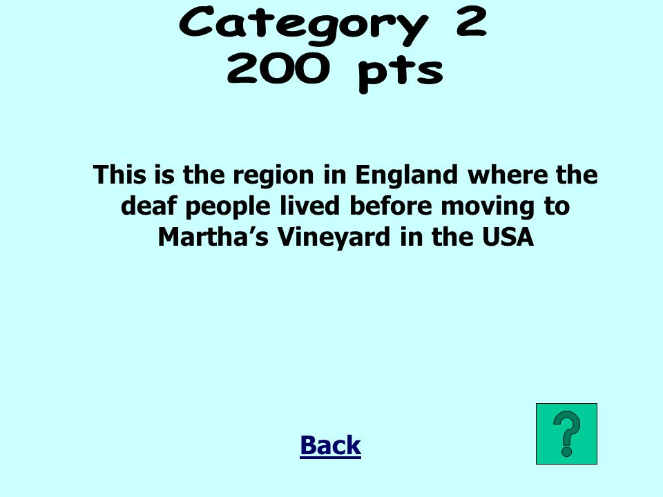 Category pts. This is the region in England where the deaf people lived before moving to Martha's Vineyard in the USA.