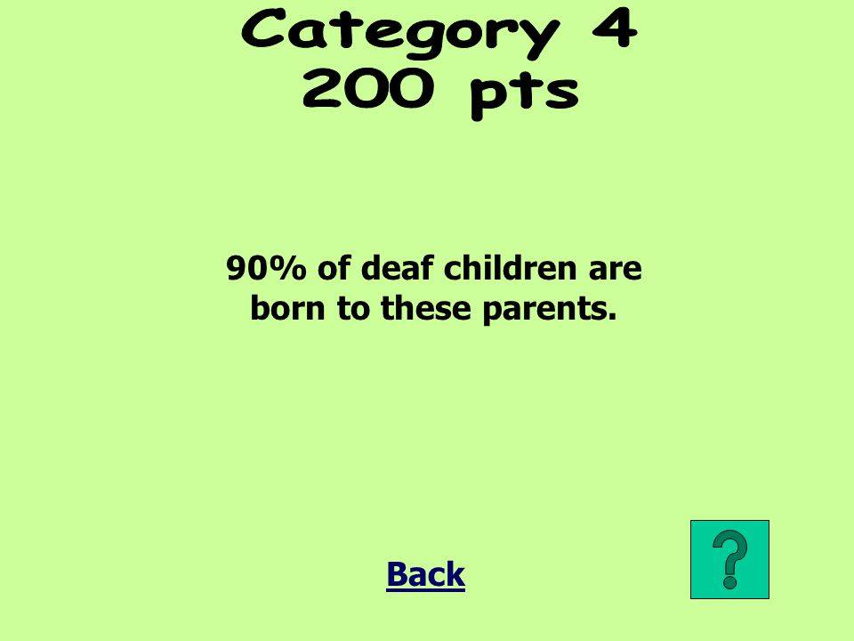 90% of deaf children are born to these parents.