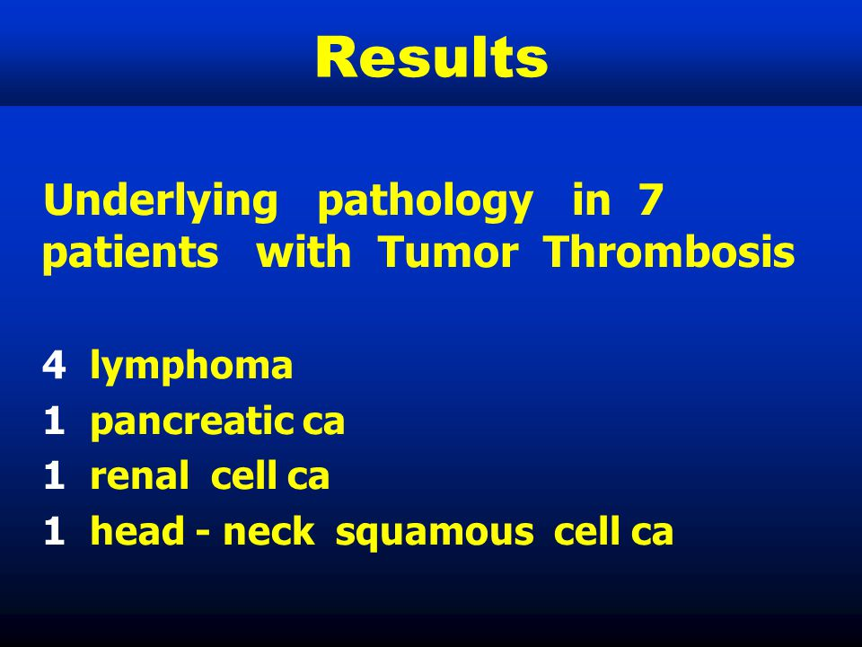 Results Underlying pathology in 7 patients with Tumor Thrombosis