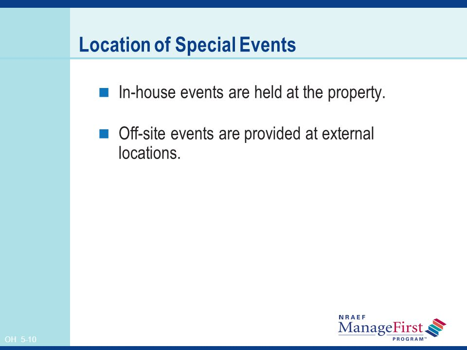 Location of Special Events