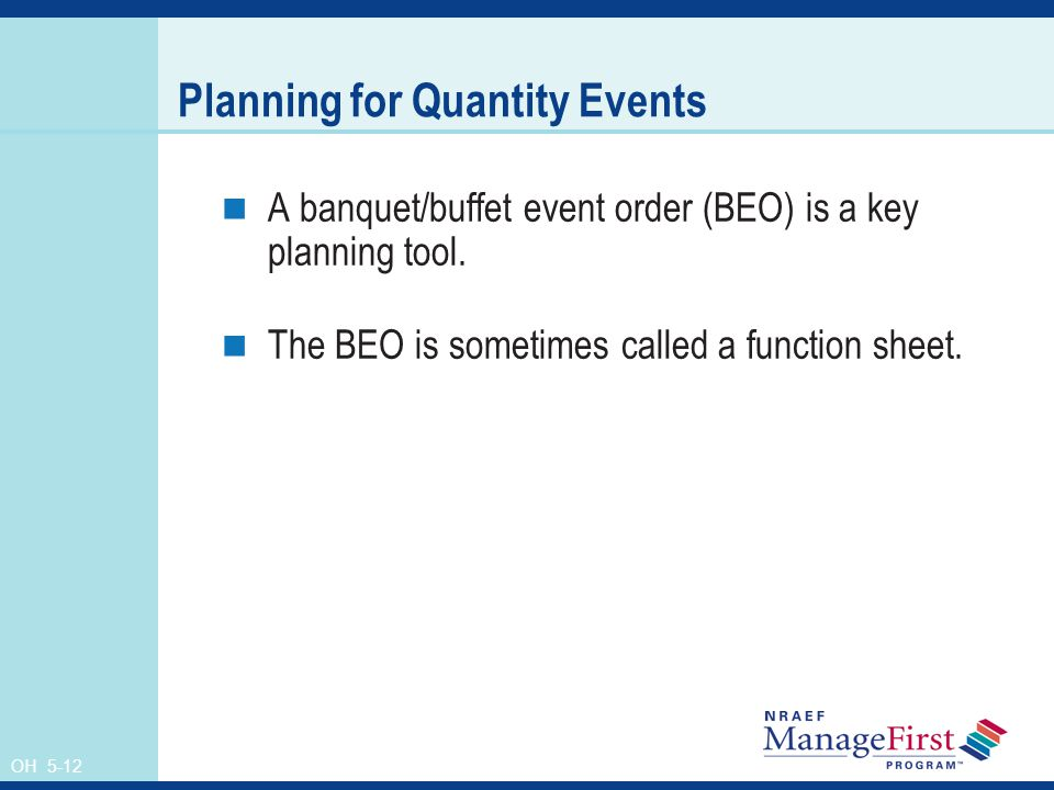 Planning for Quantity Events