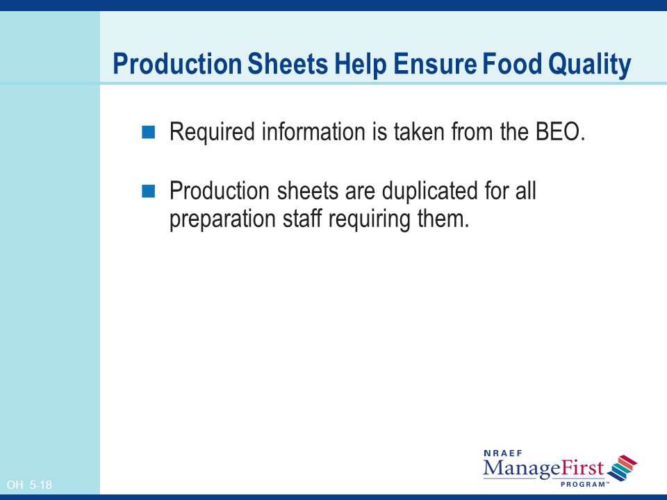 Production Sheets Help Ensure Food Quality