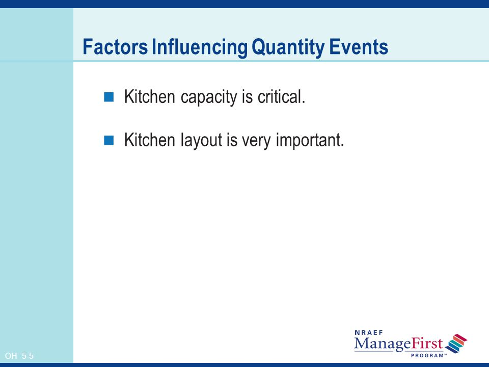 Factors Influencing Quantity Events