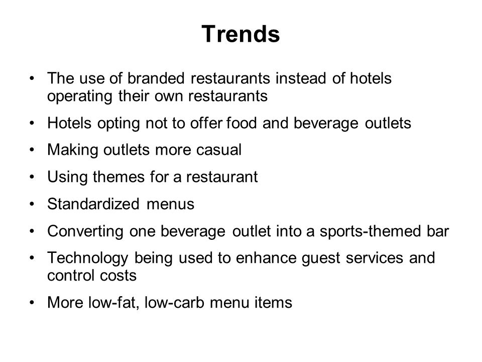 Food and Beverage Operations - ppt download