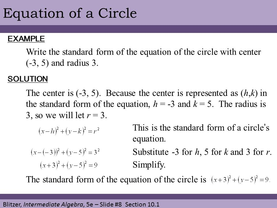 Write An Equation In Standard Form For The Circle Image Collections