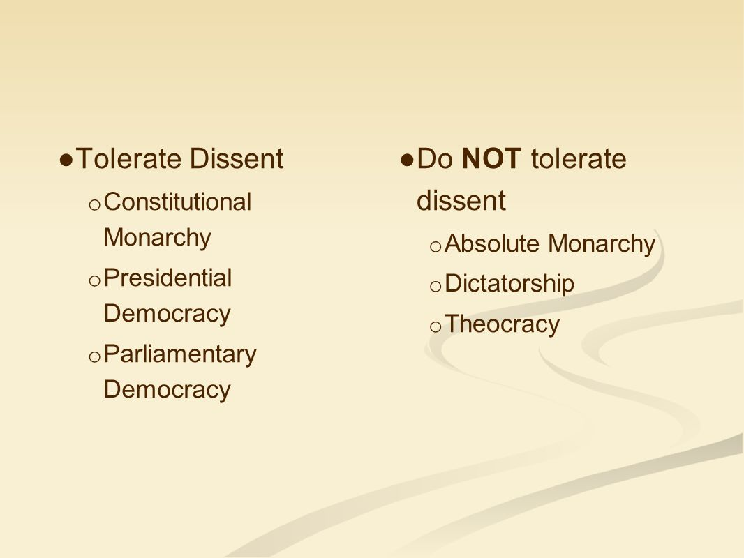 Do NOT tolerate dissent