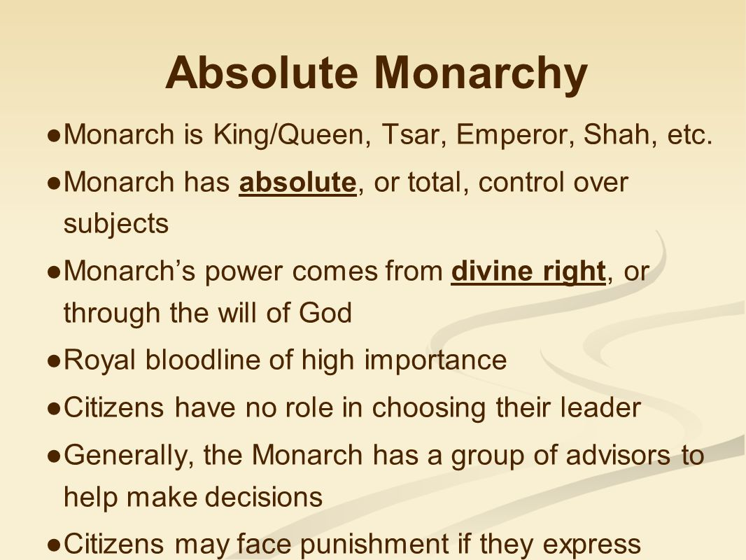Absolute Monarchy Monarch is King/Queen, Tsar, Emperor, Shah, etc.