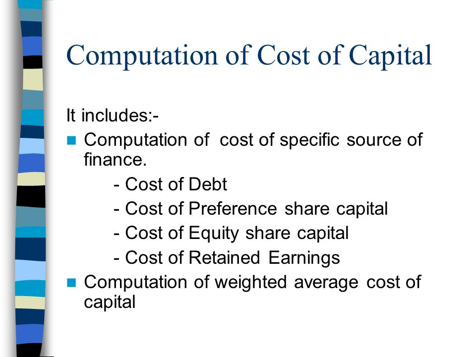 summary cost of capital Cost of capital is the required return necessary to make a capital budgeting project, such as building a new factory, worthwhile.