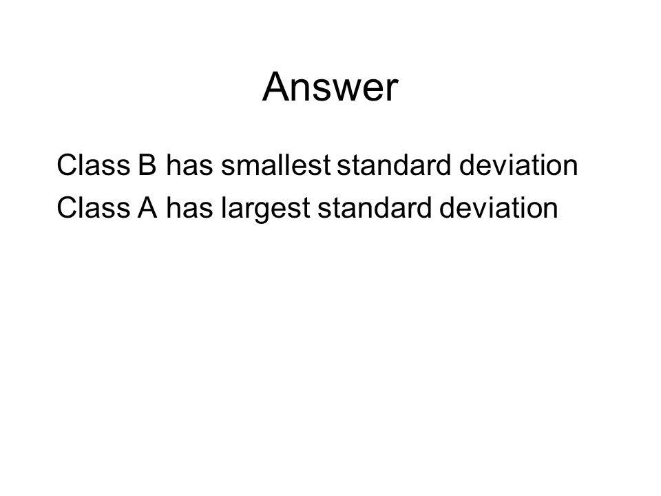 Answer Class B has smallest standard deviation Class A has largest standard deviation