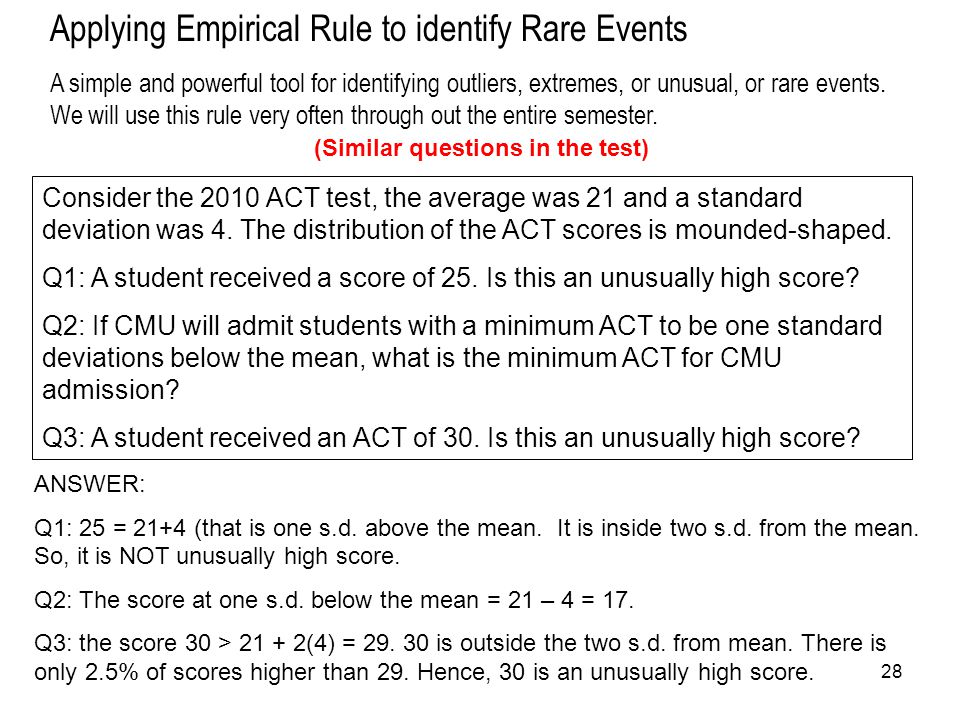 Applying Empirical Rule to identify Rare Events