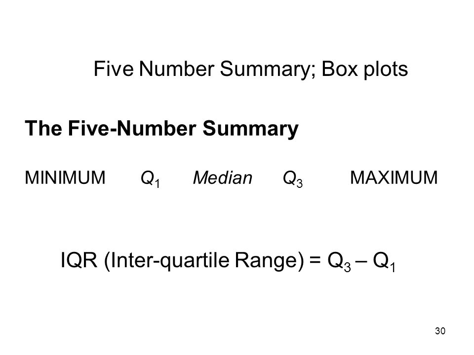 Five Number Summary; Box plots