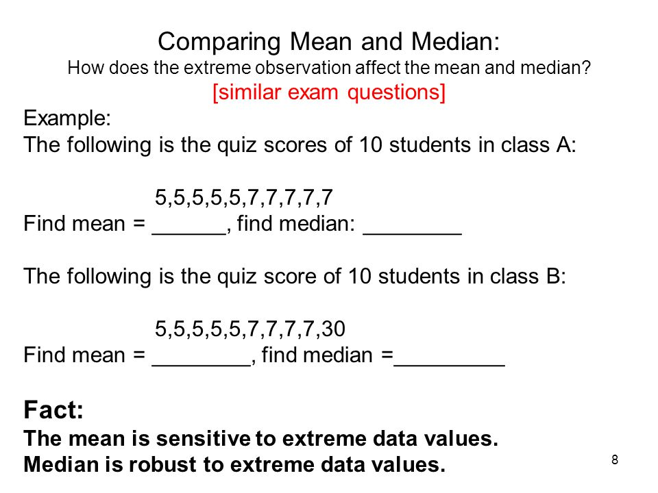 Comparing Mean and Median: